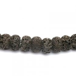 Lava kraal, rond, plat, zwart, 10 x 16 mm (10 st.)