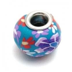 Fimokraal met groot rijggat, blauw met bloempje (1 st.)