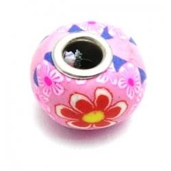 Fimokraal met groot rijggat, roze met bloempje (1 st.)