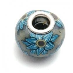 Fimokraal met groot rijggat, grijs/blauw (1 st.)