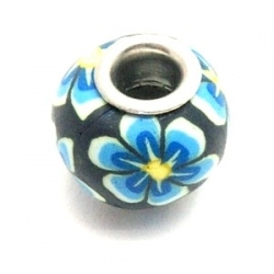 Fimokraal met groot rijggat, donkerblauw met bloempje (1 st.)
