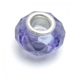 Glaskraal met groot rijggat, metalen kern, paars met facetten (1 st.)
