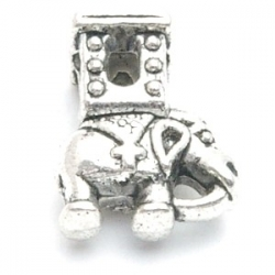 Metalen kraal met groot rijggat, zilver, olifant (1 st.)