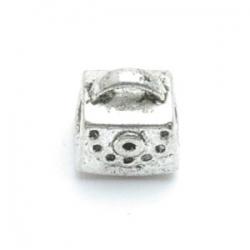 Metalen kraal met groot rijggat, zilver, handtas (1 st.)