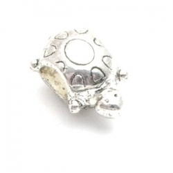Metalen kraal met groot rijggat, zilver, schildpad (1 st.)