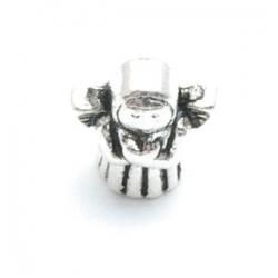 Metalen kraal met groot rijggat, zilver, engeltje (1 st.)