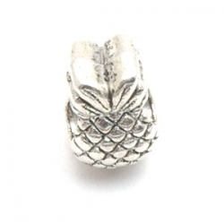 Metalen kraal met groot rijggat, zilver, ananas (1 st.)