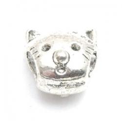 Metalen kraal met groot rijggat, zilver, poesje (1 st.)