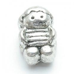 Metalen kraal met groot rijggat, zilver, jongetje (1 st.)