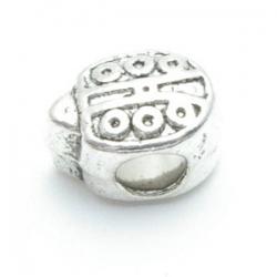 Metalen kraal met groot rijggat, zilver, lieveheersbeestje (1 st.)