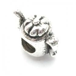 Metalen kraal met groot rijggat, zilver, theepotje (1 st.)