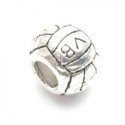 Metalen kraal met groot rijggat, zilver, voetbal (1 st.)