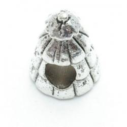 Metalen kraal groot rijggat zilver kerstboom (1 st.)