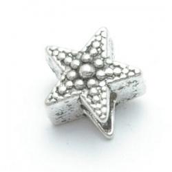 Metalen kraal met groot rijggat, zilver, ster (1 st.)