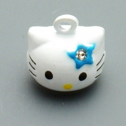 Metaal, belletje, Hello Kitty, gezichtje, blauw, 20 mm (1 st.)
