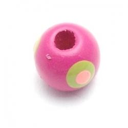 Houten kraal, rond, roze, 8 mm (10 st.)