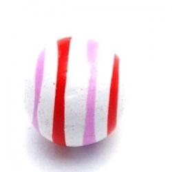 Houten kraal, rond, wit streep, 10 mm (10 st.)