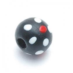 Houten kraal, rond, zwart, stip, 8 mm (10 st.)