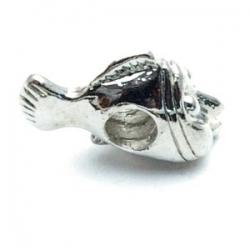 Metalen kraal met groot rijggat, zilver, visje (1 st.)