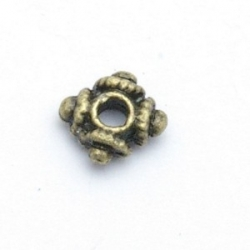 Spacer, vierkant, antique goud, 7 mm (20 st.)