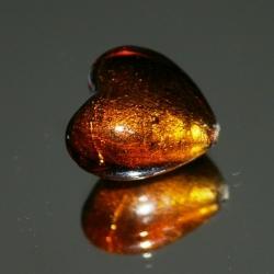 Glaskraal, hartvorm met zilverfolie, bruin