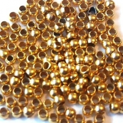 Knijpkralen, goudkleurig, 2 mm (10 gr.)