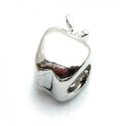 Metalen kraal met groot rijggat, zilver, appel (1 st.)