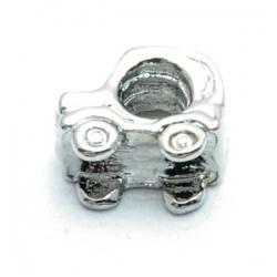 Metalen kraal met groot rijggat, zilver, auto (1 st.)