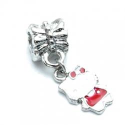 Metalen kraal met groot rijggat, zilver, Hello Kitty (1 st.)