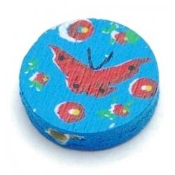 Houten kraal, rond, blauw, vlinder, 16 mm (10 st.)