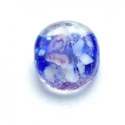Lampwork kraal, rond, donkerblauw, 14 mm (8 st.)