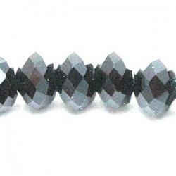 Glaskraal, donut met facetten, zwart, 6 x 4 mm (20 st.)