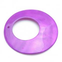 Schelp kraal, hanger, rond, paars, 50 mm (1 st.)