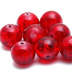Glaskraal, rond, rood, Crackle kraal, 14 mm (5 st.)