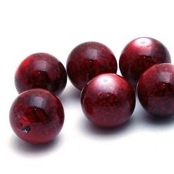 Glaskraal, rond, rood gemarmerd, 14 mm (5 st.)