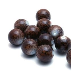Glaskraal, rond, bruin gemarmerd, 14 mm (5 st.)