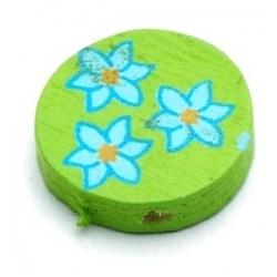 Houten kraal, rond, groen met blauw bloempje, 15 mm (10 st.)