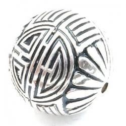 Metallook kraal, rond, zilver, 25 mm (3 st.)