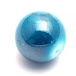 Glaskraal, rond, petrol, gemarmerd, 14 mm (5 st.)