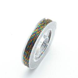 Rijg-/knoopdraad met glitters, multi, 1 mm (10 meter)