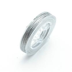 Rijg-/knoopdraad met glitters, zilver, 1 mm (10 meter)