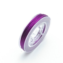 Rijg-/knoopdraad met glitters, paars, 1 mm (10 meter)