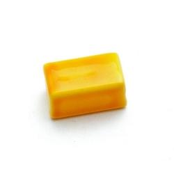 Glaskraal, rechthoek, geel, 16 x 8 mm (10 st.)