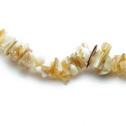 Chips/splitkraal, schelp, beige (1 streng)