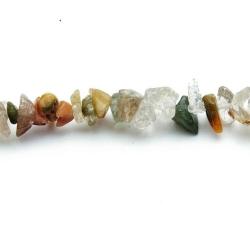 Halfedelsteen, kraal, chips/split, Jade (streng)