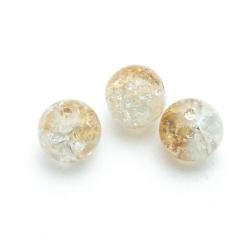 Crackle kraal, rond, bruin, 8 mm (streng)