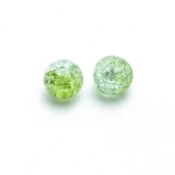 Crackle kraal, rond, lichtgroen, 12 mm (streng)
