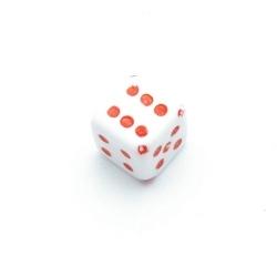 Kunststof kraal dobbelsteen rood 10 mm (10 st.)