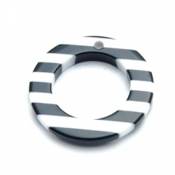 Hanger, kunststof, ring, zwart/wit, 30 mm (4 st.)