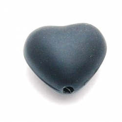 Rubber kraal, hart, zwart, 20 mm (5 st.)
